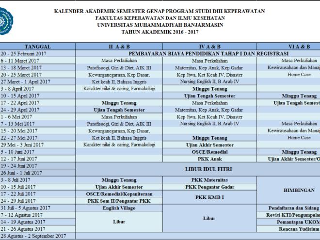 Kalender Akademik D3 Keperawatan T.A 2016 - 2017 Genap
